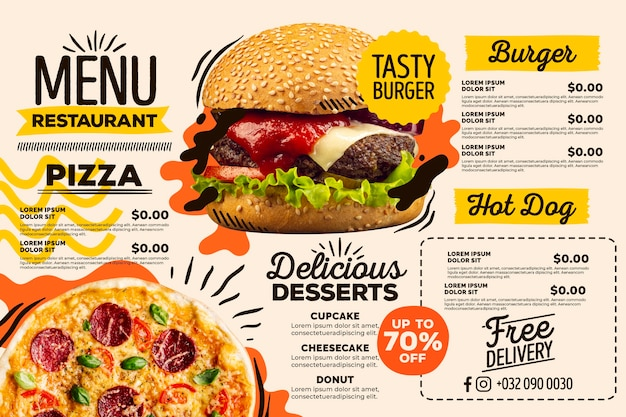 Menú de restaurante digital de formato horizontal