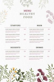 Menú de restaurante digital en formato vertical con flores