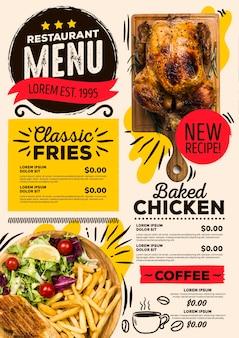 Menú de restaurante digital nueva receta