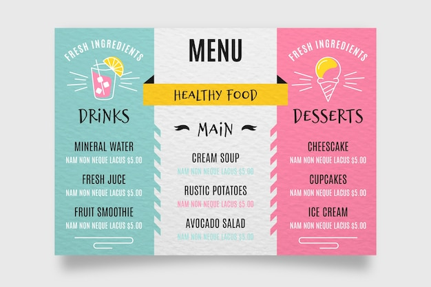 Menú de restaurante de diseño colorido