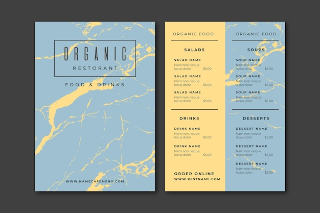 Menú de restaurante de diseño de mármol