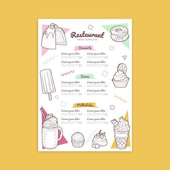 Menú de restaurante de dulces y batidos