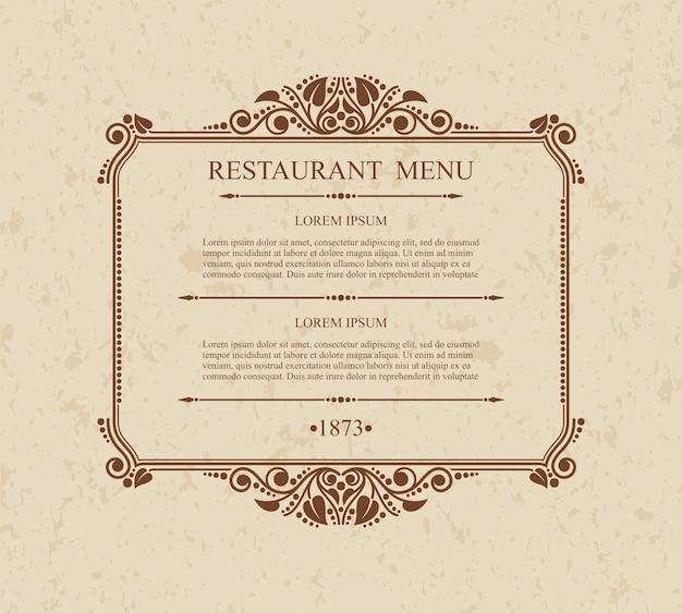 Menú restaurante elementos de diseño tipográfico, plantilla elegante caligráfica,
