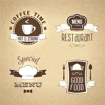 Menú de restaurante emblemas conjunto texturado.