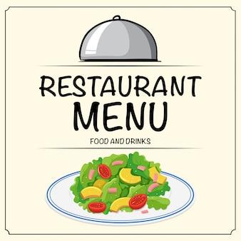 Menú del restaurante con ensalada.