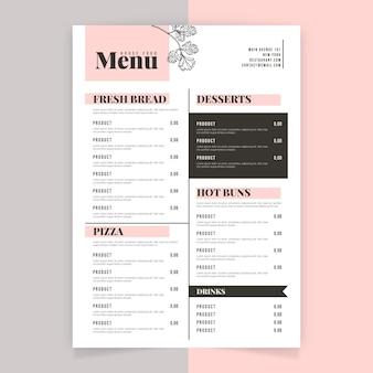 Menú de restaurante de flores de contorno minimalista