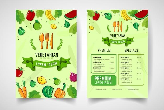 Menú del restaurante con frutas y verduras en un estilo colorido.