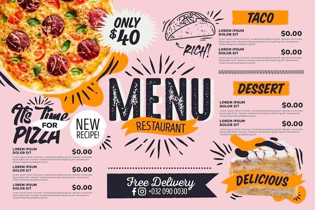 Menú de restaurante horizontal digital pizza vector gratuito