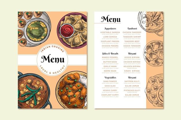 Menú de restaurante indio oriental dibujado a mano grabado