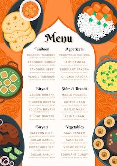 Menú de restaurante indio oriental plano