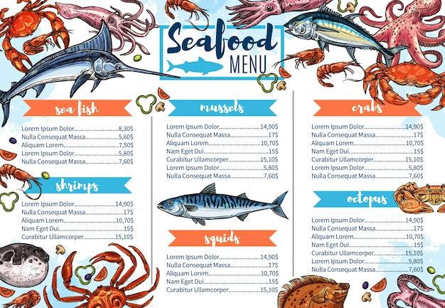 Menú de restaurante de mariscos, boceto de comida gourmet de pescado