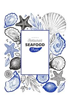 Menú de restaurante de mariscos dibujado a mano