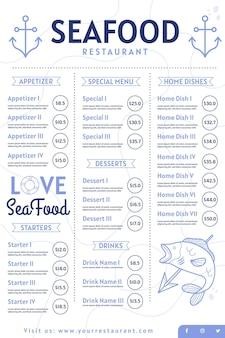 Menú de restaurante de mariscos digital