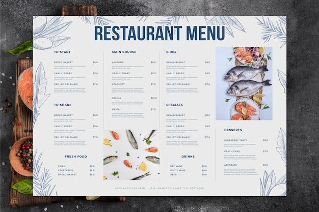 Menú de restaurante con mariscos