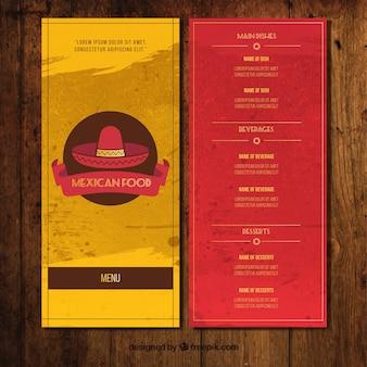 Menú para restaurante mejicano amarillo y rojo