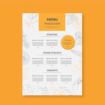 Menú de restaurante minimalista con dibujos.