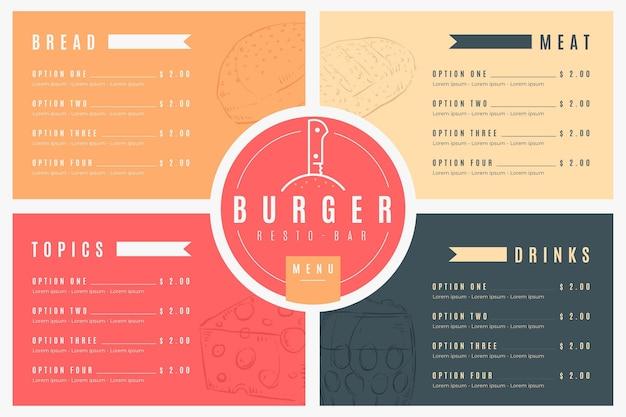 Menú de restaurante mínimo en formato horizontal para plataforma digital