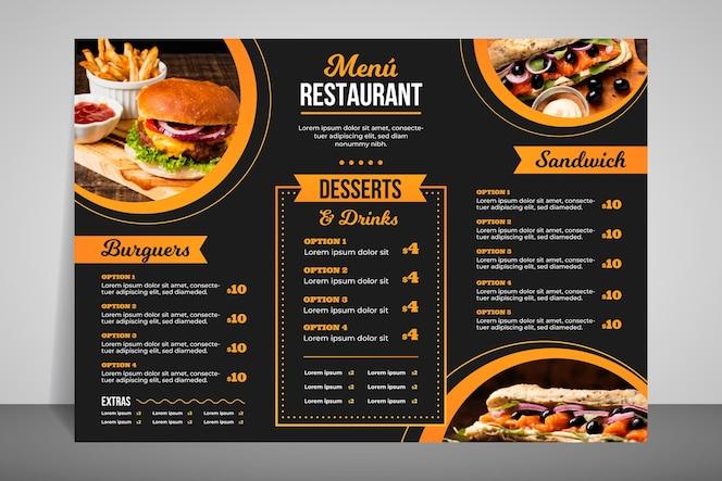 Menú de restaurante moderno para comida rápida.