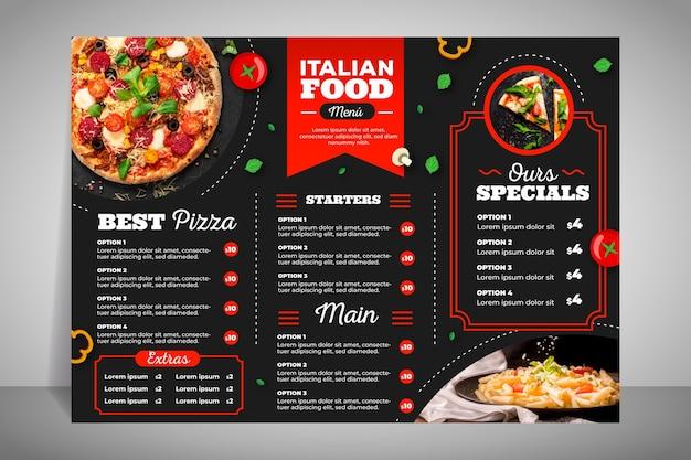 Menú de restaurante moderno para pizza.