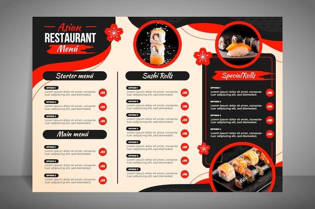 Menú de restaurante moderno para sushi.