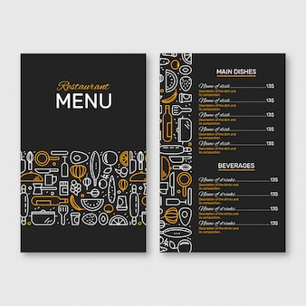 Menú del restaurante negro y amarillo