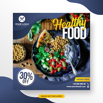 Menú restaurante o alimentos medios sociales post plantilla alimentos saludables
