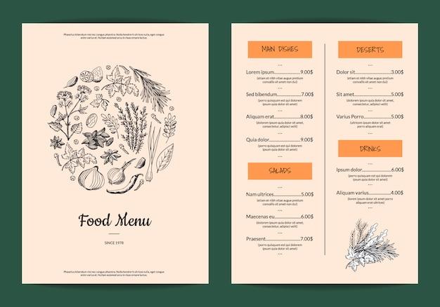 Menú de restaurante o cafetería con hierbas y especias dibujadas a mano.