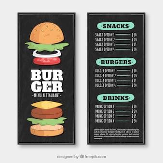 Menú de restaurante oscuro con hamburguesas deliciosas