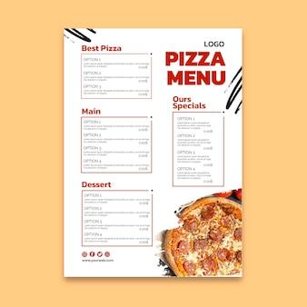Menú de restaurante de pizza deliciosa