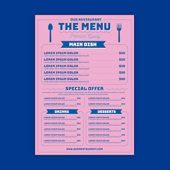 Menú del restaurante con plantilla de opciones