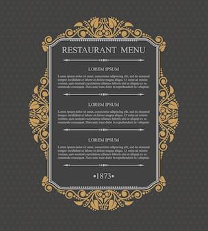 Menú de restaurante retro elementos de diseño tipográfico, plantilla elegante caligráfica,
