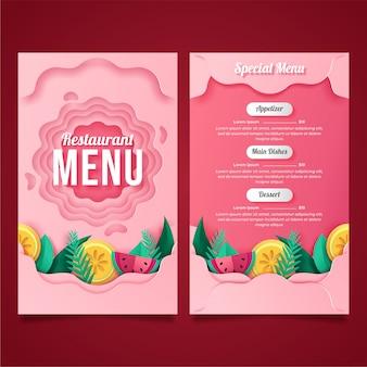 Menú de restaurante rosa en papel