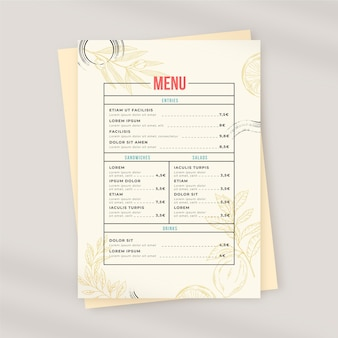 Menú de restaurante rústico dibujado a mano grabado
