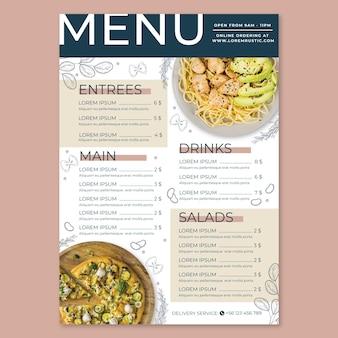 Menú de restaurante rústico plano con foto