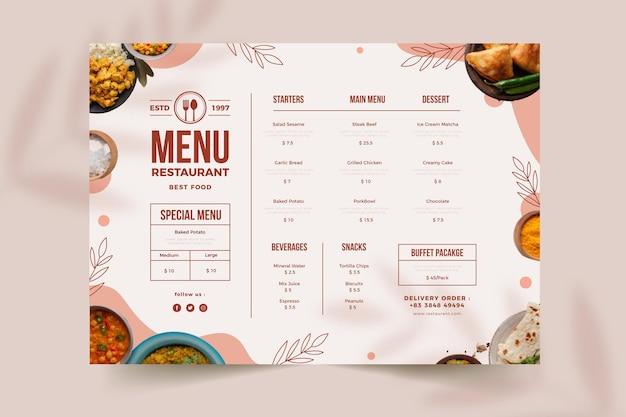 Menú de restaurante rústico plano orgánico