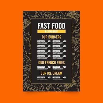 Menú de restaurante de venta de hamburguesas