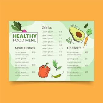 Menú del restaurante para verduras comida sana
