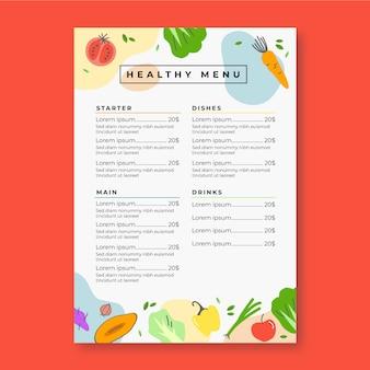 Menú de restaurante de verduras frescas