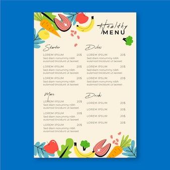 Menú de restaurante de verduras y frutas
