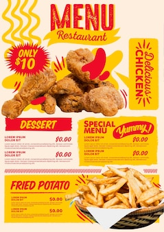 Menú de restaurante vertical digital de comida rápida