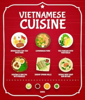 Menú de restaurante vietnamita