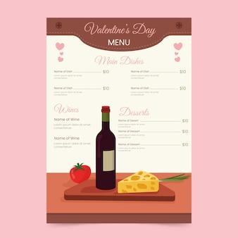 Menú de restaurante de vino tinto y queso francés valentine