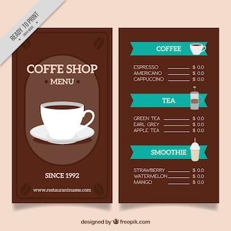 Menú retro de cafetería con taza de café
