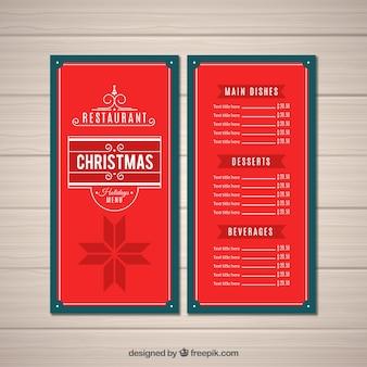 Menú retro de navidad de color rojo