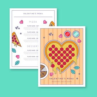 Menú de san valentín de diseño plano con pizza