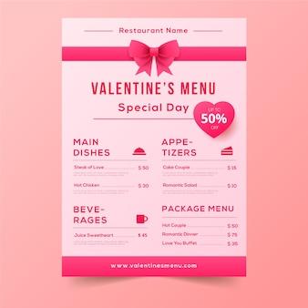 Menú de san valentín con lindas cintas rosas