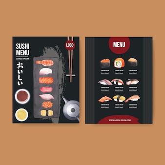 Menú de sushi para restaurante.