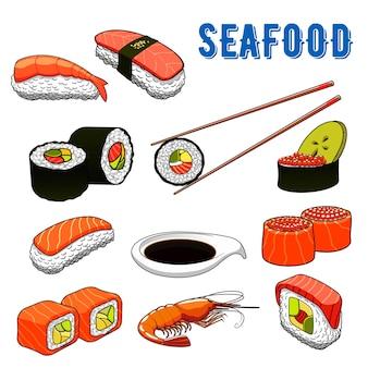 Menú de sushi tradicional japonés con maki rolls y nigiri sushi con salmón