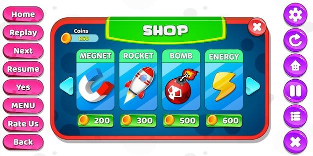 Menú de tienda de interfaz de usuario de juego de dibujos animados informal para niños emergente con botones de estrellas