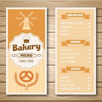 Menú de la tienda de panadería